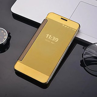 Samsung Galaxy J5 Prime Luxury Clear View Mirror Smart View Case Flip Cover For Samsung Galaxy J5 Prime - (Golden)