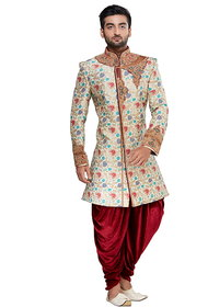 Semi Indo-Western Sherwani Floral and Multicoloured.