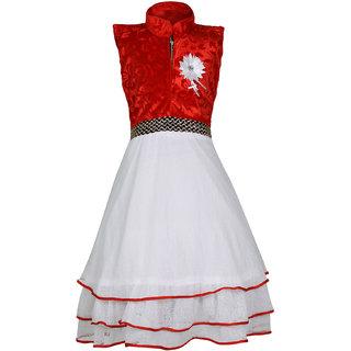 kbkidswear Girls Net Self Design Party Wear Dress (3 - 4 Years)