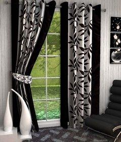 Tejashwi traders kolaveri Black WINDOW curtains set of 2 (4x5)