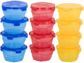 Skyedventures Combo Four Lock Pack of 12- 4 Blue,4 Red,Yellow Plastic Container