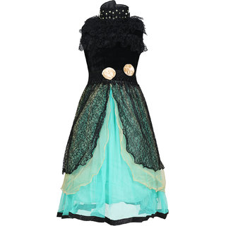 KBKIDSWEAR Girl's Net Extra Flare Self Design Ball Gown (3 - 4 Years)