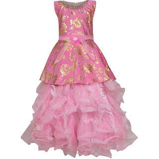 be0363684297 Buy KBKIDSWEAR Girl s Net Extra Flare Floral Print Ball Gown (4 - 5 ...