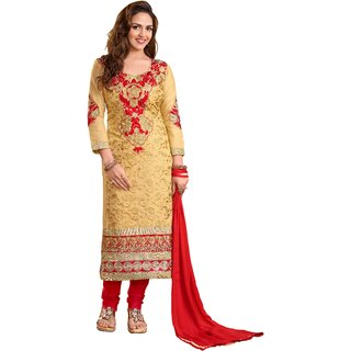 DnVeens Women Chanderi Cotton Embroidered Unstitched Salwar Kameez Suit Set Dress Materials BLKESDH03