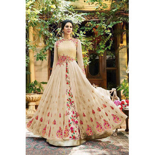 1a37d4cd615f Buy Salwar Soul Casual Look Hevy Designer Party Wear Beautiful Beige  Georgette Long Gown Festive For Girls Online - Get 59% Off