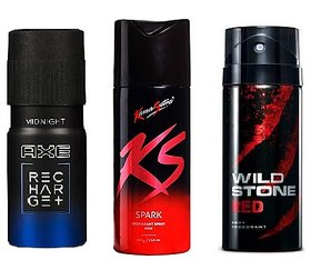 AXE + KS + Wild Stone (Set of 3 Pcs ) Deo Deodorants Body Spray For Men