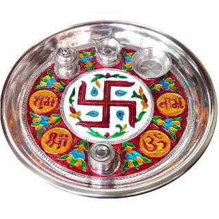 Decorative Maanakari Pooja Thali - 10 Inches