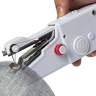 Wondersmit Handheld Cordless Electric Mini Sewing Machine Portable Quick Stitch Tool for Fabric, Clothing, or Kids Clot