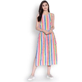 Abiti Bella Women's Multicolor Long Divider Woven Skirt Set