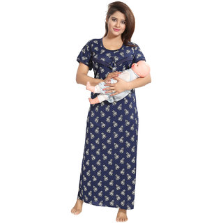 Be You Blue Satin Floral Women's Feeding / Maternity Gown
