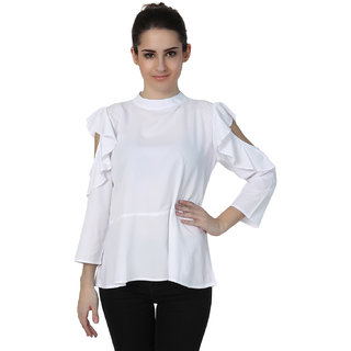 Jollify White cold shoulder womens top