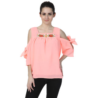 1dbe3323eeb1c Buy Jollify Embroidered Peach Georgette Top for womens Online - Get ...