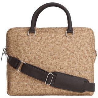 TRAFELWOODS LEATHER TAN PRINTED MESSENGER 14 LAPTOP BAG