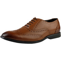 Kanprom Tan Formal Brogue Genuine Leather Shoes For Men