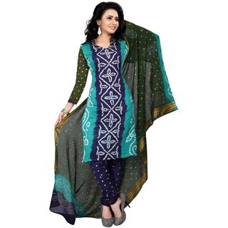 Sondarya Bandhani Women's Multicolor Cotton Bandhej Dress Material.