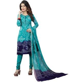 Sondarya Bandhani Women's Multicolor Cotton Bandhej Dress Material.
