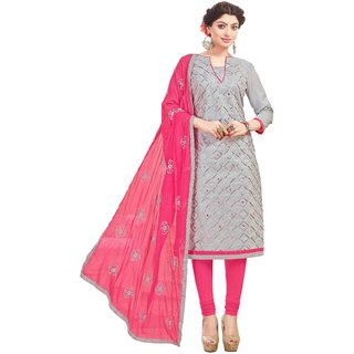 DnVeens Women Pure Cotton Embroidered Unstitched Salwar Kameez Suit Set Dress Materials BLRNCRMY1006