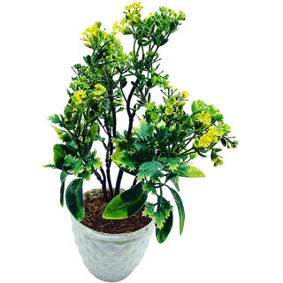 Artificial Plant With Pot - 5 Branched Bonsai Tree with Big Green leaves and Yellow Flowers by Random