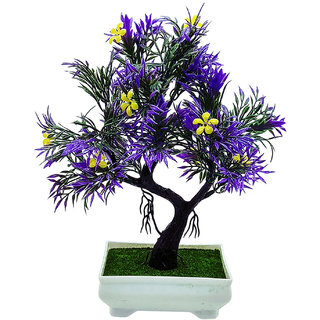 Artificial Plant With Pot - Y Shaped Bonsai with Dark Purple Leaves and Yellow Flowers  by Random