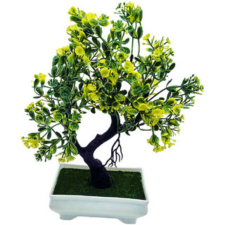 Artificial Plant With Pot - Y Shaped Bonsai with Green Leaves and Yellow Flowers by Random