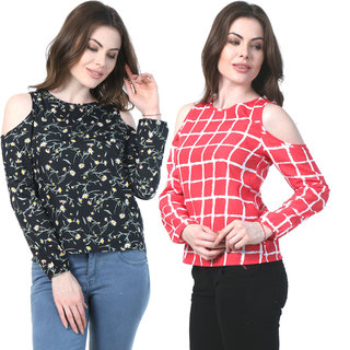 c53358f2413b0b Klick2Style Cold Shoulder Tops Pack of 2 Red CHeck   Black Floral Print