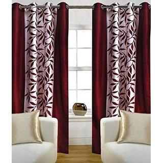 Tejashwi traders kolaveri maroon WINDOW curtains set of 2 (4x5)