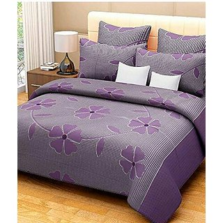 Reet Textile Purple Patch Design Cotton Double Bedsheet With 2 Pillow Covers