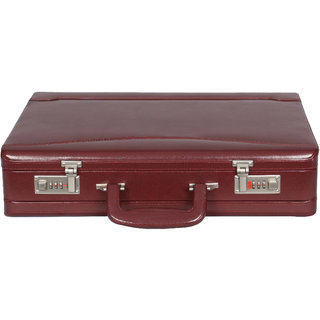 OBANI Faux Leather Expandable Briefcase Maroon
