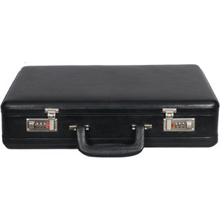 OBANI Genuine Leather Expandable Briefcase Black