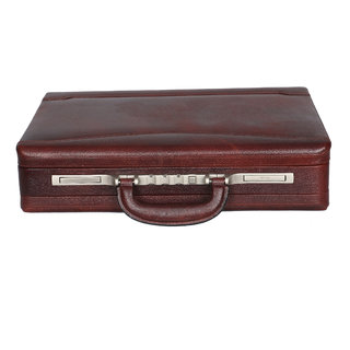 OBANI Genuine Leather Expandable Briefcase Brown