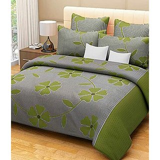 Reet Textile Green Patch Cotton Double Bedsheet With 2 Pillow Covers