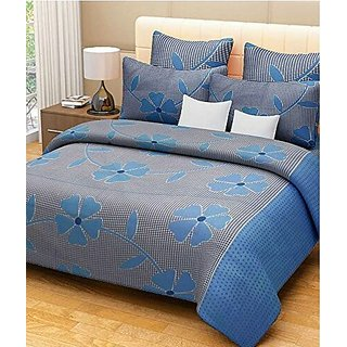 Reet Textile Blue Patch Cotton Double Bedsheet With 2 Pillow Covers