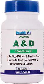 Healthvit Vitamin A  D 10000/400 IU 60 Capsules