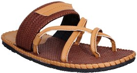 Stylos Men's 5131 Brown And Tan Leather Sandal