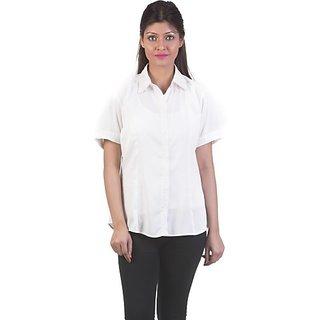 Gabby Women's White Solid Shirt Collar Crepe Half Sleeves Regular Shirts