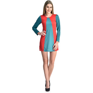 Klick2Style Women Turq-Red Viscose Dress