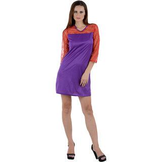 Klick2Style Women Red-Purple Viscose Dress