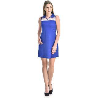 Klick2Style Women White-Blue Viscose Dress