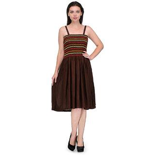 Klick2Style Women Brwn Viscose Dress