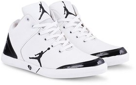 Butchi Men's White Synthetic Leather Stylish Sneakers