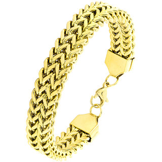 The Jewelbox Wheat Glossy 18K Gold Plated 316L Surgical Stainless Steel Bracelet For Boys Men