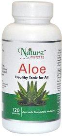 Naturz Ayurveda Pure Aloe vera capsule  / Aloe  Aloe barbadensis pure powder in capsule for digestion 120 capsules 400mg