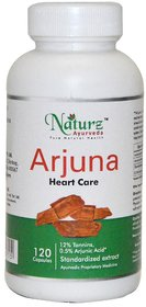 Naturz Ayurveda Natural  Pure Arjuna Heart capsule for cholestrol and supports heart functions - 120 capsules 500mg
