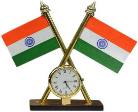 Benjoy Indian Flag With Clock For Car Dashboard
