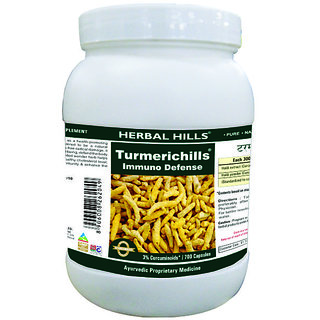 Herbal Hills Premium Quality Turmeric / Curcuma longa capsule 700 in a pack - Optimum skin and anti oxidant support