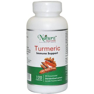 Naturz Ayurveda Turmeric / Curcuma - 120 count-300 mg capsule for skin support aid