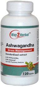 Way2herbal Ashwagandha root , 350 mg capsules, 120 counts - Ayurvedic Stress care supplement