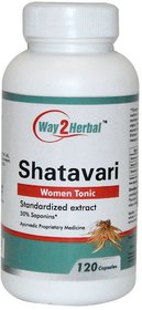Way2herbal Shatavari (Asparagus racemosus) - 350 mg capsules, 120 counts - Female hormonal balance