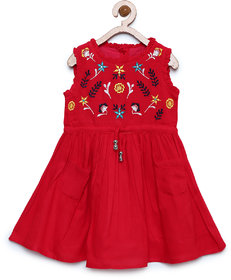 Meia for girls Red Printed Fit & Flare Dress