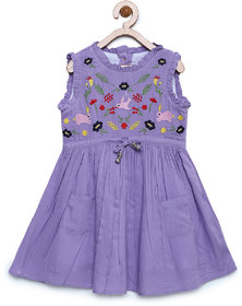 Bella Moda Girls Purple Printed Fit & Flare Dress